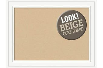 (Board Size 28x20, Craftsman White) - Framed Tan Cork Board Bulletin Board | Tan Cork Boards Craftsman White Frame | Framed Bulletin Boards | 80cm x 60cm .