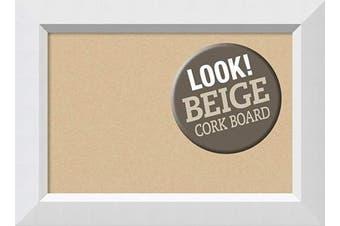 (Board Size 18x12, Blanco White) - Framed Tan Cork Board Bulletin Board | Tan Cork Boards Blanco White Frame | Framed Bulletin Boards | 60cm x 41cm .