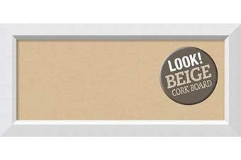(Board Size 30x12, Blanco White) - Framed Tan Cork Board Bulletin Board | Tan Cork Boards Blanco White Frame | Framed Bulletin Boards | 90cm x 41cm .