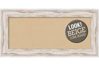 (Board Size 30x12, Alexandria White Wash) - Framed Tan Cork Board Bulletin Board | Tan Cork Boards Alexandria White Wash Frame | Framed Bulletin Boards | 90cm x 43cm .