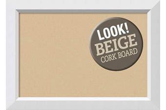 (Board Size 24x16, Blanco White) - Framed Tan Cork Board Bulletin Board | Tan Cork Boards Blanco White Frame | Framed Bulletin Boards | 70cm x 50cm .