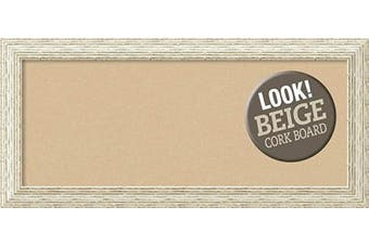(Board Size 30x12, Cape Cod White Wash) - Framed Tan Cork Board Bulletin Board | Tan Cork Boards Cape Cod White Wash Frame | Framed Bulletin Boards | 80cm x 39cm .