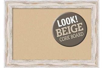 (Board Size 18x12, Alexandria White Wash Narrow) - Framed Tan Cork Board Bulletin Board | Tan Cork Boards Alexandria White Wash Narrow Frame | Framed Bulletin Boards | 50cm x 39cm .