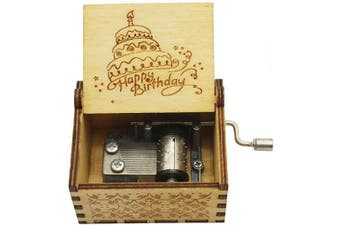 (Wood- Happy Birthday) - Aokely Music Box Hand Crank Musical Box Vintage Wood Carved Sunshine Musical Box Crafts Gifts for Birthday/Christmas/Valentine's Day (Happy Birthday)