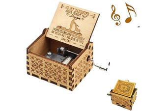 (Wood- Dad to Daughter) - Aokely Music Box Hand Crank Musical Box Vintage Wood Carved Sunshine Musical Box Crafts Gifts for Birthday/Christmas/Valentine's Day (Dad to Daughter)