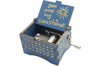 (Blue- You Are My Sunshine) - Aokely Music Box Hand Crank Musical Box Vintage Wood Carved Sunshine Musical Box Crafts Gifts for Birthday/Christmas/Valentine's Day (Blue- You are My Sunshine)