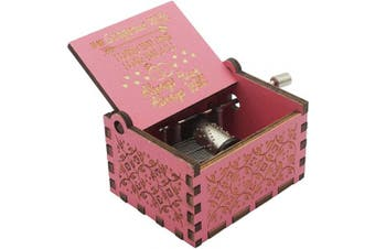 (Pink- to Wife) - Aokely Music Box Hand Crank Musical Box Vintage Wood Carved Sunshine Musical Box Crafts Gifts for Birthday/Christmas/Valentine's Day ifts for Birthday/Christmas/Valentine's Day (Pink- to Wife)