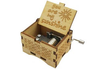 (Wood-you Are My Sunshine) - Aokely Music Box Hand Crank Musical Box Vintage Wood Carved Sunshine Musical Box Crafts Gifts for Birthday/Christmas/Valentine's Day(Wood-You are My Sunshine)