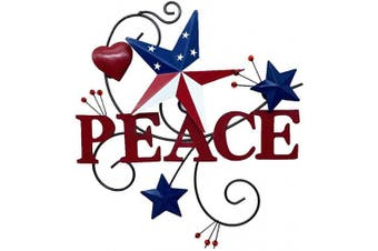 (Peace) - 4homemax Primitive Country Metal Hanging Wall Art Sculpture- Metal Hearts and Americana Stars with Faith - July 4th Patriotic Indoor Outdoor Decor (Peace)