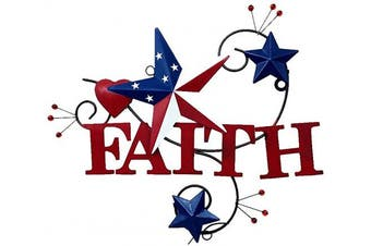 (Faith) - 4homemax Primitive Country Metal Hanging Wall Art Sculpture- Metal Hearts and Americana Stars with Faith - July 4th Patriotic Indoor Outdoor Decor (Faith)