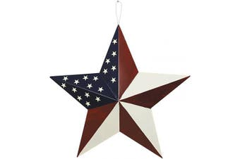 (L-stars) - Attraction Design Patriotic Metal Barn Star Wall Decor, 50cm Hanging Country Rustic Metal Star for July 4th Decoration