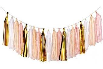 (Gold+peach Color+light Pink+white/20pcs) - 20PCS Shiny Tassel Garland Tissue Paper Tassel Banner,Table Decor,Tassels Party Decor Supplies for Wedding,Birthday,Bridal/Baby Shower,Anniversary,DIY Kits - (Gold/Peach Colour/Light Pink/White)