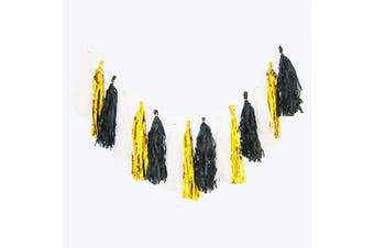 (Gold/Black/White) - Cdycam Tissue Paper Tassel Garland - 15pcs Tassels Party Decor - 36cm Long Tassels Supplies for Wedding/Birthday/Bridal/Baby Shower/Anniversary (Gold/Black/White)