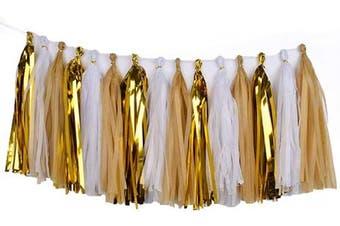 (White/Gold/Khaki) - Cdycam Tissue Paper Tassel Garland - 15pcs Tassels Party Decor - 36cm Long Tassels Supplies for Wedding/Birthday/Bridal/Baby Shower/Anniversary (White/Gold/Khaki)
