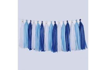 (White/Blue/Navy) - Cdycam Tissue Paper Tassel Garland - 15pcs Tassels Party Decor - 36cm Long Tassels Supplies for Wedding/Birthday/Bridal/Baby Shower/Anniversary (White/Blue/Navy)
