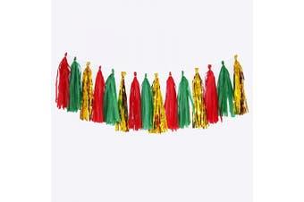 (Gold/Red/Dark Green) - Cdycam Tissue Paper Tassel Garland - 15pcs Tassels Party Decor - 36cm Long Tassels Supplies for Wedding/Birthday/Bridal/Baby Shower/Anniversary (Gold/Red/Dark Green)