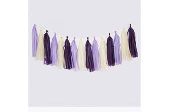 (White/Light Purple/Dark Purple) - Cdycam Tissue Paper Tassel Garland - 15pcs Tassels Party Decor - 36cm Long Tassels Supplies for Wedding/Birthday/Bridal/Baby Shower/Anniversary (White/Light Purple/Dark Purple)