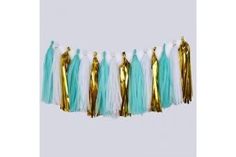 (White/Gold/Blue) - Cdycam Tissue Paper Tassel Garland - 15pcs Tassels Party Decor - 36cm Long Tassels Supplies for Wedding/Birthday/Bridal/Baby Shower/Anniversary (White/Gold/Blue)