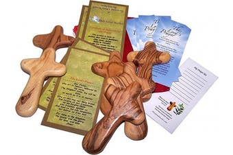 Six Olive Wood Comfort Crosses with Velvet Bags & Lord's Prayer Card - The Holding or Hand Cross (10cm ) - Large