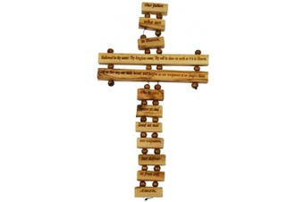 (36cm , Lord's Prayer English) - Bethlehem Gifts TM Handcarved from Bethlehem Olive Wood Cross Crucifix (Lord's Prayer English, 36cm )