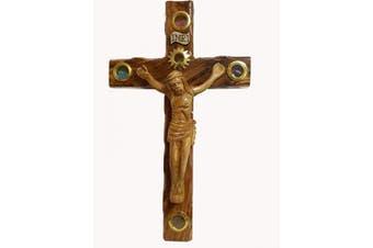 (38cm , Lens Wooden Crucifix) - Bethlehem Gifts TM Handcarved from Bethlehem Olive Wood Cross Crucifix (Lens Wooden Crucifix, 38cm )