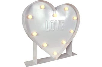 """(30cm , Heart) - Barnyard Designs Metal Marquee Heart Sign, Light Up Wall Initial Wedding, Bar, Home and Nursery Letter Decoration, 30cm x 14"""" x 2"""" (White)"""