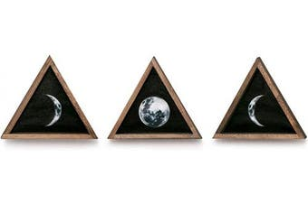 Dahey Wall Moon Phases Decor Wood Moon Signs Framed Wooden Modern Art Trio Wall Pediments for Apartment Bedroom Living Room Gallery Set of 3