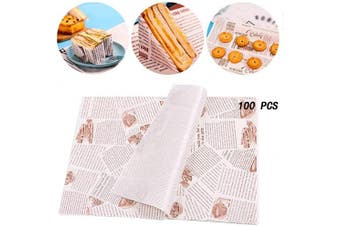 Ziyero 100 Sheets Disposable Baking Wrapping Paper Deli Basket Liner Grease Proof Paper Wax Paper Greaseproof Waterproof Suitable for Family, Bar, Birthday, Party, Wedding, Table Decoration, Etc