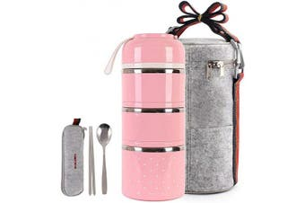 (Pink) - buringer Cute Lunch Box Insulated Lunch Bag Bento Box Food Container Storage Boxes with Spoon for Adults Women Kids Children Office Camping (3 Tiers)(Pink)