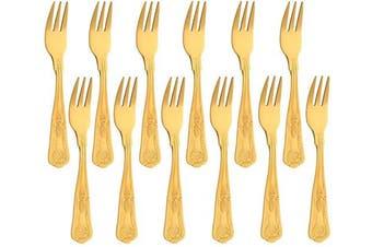 (Gold, 12 Tea Forks) - Buyer Star 12 Piece King Oyster Forks, Stainless Steel Gold Mini Fork Set for Fruit Cake Pastry Appetiser Oyster, Cake Fork