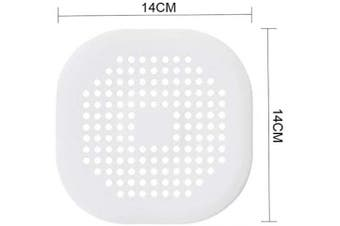(White) - Square Drain Cover for Shower TPR Drain Hair Catcher Flat Silicone Plug for Bathroom and Kitchen under sink Filter Shower Drain Protection Flat Strainer Stopper (White)