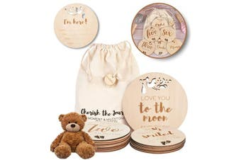 (ROUND) - Wooden Monthly Baby Milestone Cards - 24 Double Sided Unique Designs w/Bonus Birth Announcement Sign | Drawstring Gift Bag Perfect Unisex Gender Neutral Baby Shower Gift Natural Wood FSC Certified