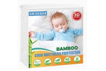 (1 PACK, Ivory(premium 3d)) - Crib Mattress Protector Waterproof Organic Bamboo Mattress Pad, 3D Ultra-Soft Baby Mattress Cover 70cm x 130cm Sheet Washable & Reusable Baby Waterproof Vinyl Free Mattress Protector