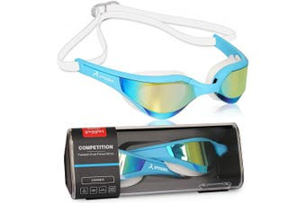 (Blue-Gold) - arteesol Swimming Goggles Adult Mirrored Swim Goggles Men No Leaking Anti Fog UV Protection Adjustable Elastic Strap with Protective Case Unisex for Men Women