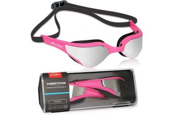 (Pink-Silver) - arteesol Swimming Goggles Adult Mirrored Swim Goggles Men No Leaking Anti Fog UV Protection Adjustable Elastic Strap with Protective Case Unisex for Men Women