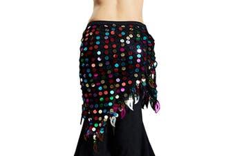Best Dance Belly Dance Hip Skirt Scarf Wrap Belt Colourful Beads Sequin Triangle Tassles Hip Scarf Rainbow