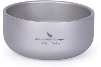(Ti15145B) - Boundless Voyage Titanium Double-Wall Bowl for Adult Children Outdoor Camping Tableware Outdoor Bowl Titanium Rice Bowl
