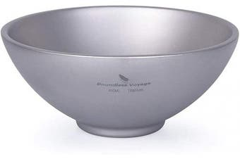 (Ti15148B) - Boundless Voyage Titanium Double-Wall Bowl for Adult Children Outdoor Camping Tableware Outdoor Bowl Titanium Rice Bowl