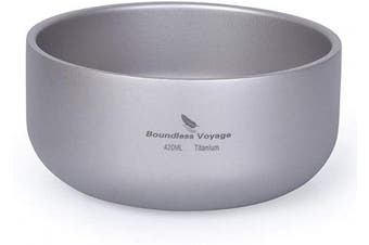 (Ti15146B) - Boundless Voyage Titanium Double-Wall Bowl for Adult Children Outdoor Camping Tableware Outdoor Bowl Titanium Rice Bowl