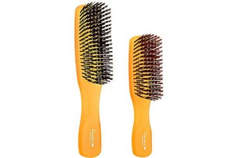 (Set, Orange) - Giorgio GION1-2O Neon Orange Set of 2 Gentle Touch Detangler Hair Brush for Men and Women. Soft Bristles for Sensitive Scalp. Wet and Dry for all Hair Types. Scalp Massager Brush Stimulate Hair Growth