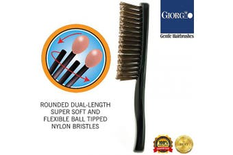 (Travel, Black) - Giorgio GIO2BLK Black 16cm Gentle Touch Detangler Hair Brush for Men Women and Kids. Soft Bristles for Sensitive Scalp. Wet and Dry for all Hair Types. Scalp Massager Brush Stimulate Hair Growth