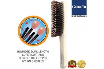 (Travel, Ivory) - Giorgio GIO2IVY Ivory 16cm Gentle Touch Detangler Hair Brush for Men Women and Kids. Soft Bristles for Sensitive Scalp. Wet and Dry for all Hair Types. Scalp Massager Brush Stimulate Hair Growth