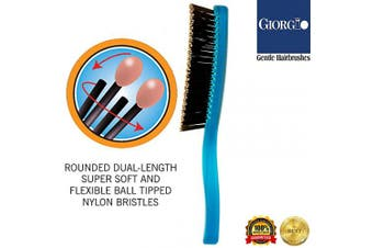 (Large, Neon Blue) - Giorgio GION1B Neon Blue 20cm Gentle Touch Detangler Hair Brush for Men and Women. Soft Bristles for Sensitive Scalp. Wet and Dry for all Hair Types. Scalp Massager Brush Stimulate Hair Growth