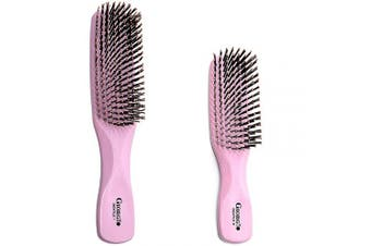 (Set, Pink) - Giorgio GIO1-2P Pink Set of 2 Gentle Touch Detangler Hair Brush for Men Women and Kids. Soft Bristles for Sensitive Scalp. Wet and Dry for all Hair Types. Scalp Massager Brush Stimulate Hair Growth