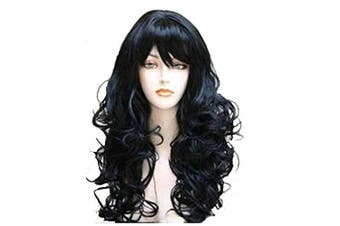 (Black(2)) - Acecharming Black Wigs With Bangs,Curly Wig Women's Long Curly Wigs Cosplay Party Wig with Wig Cap (Black(2))