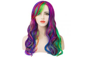 (Rainbow) - Acecharming Rainbow Wigs,Long Wave wig Cosplay Wig Full Wig for Halloween Party