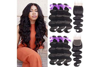 (24/24/24+50cm , Bundles with Closure) - Beaudiva Hair 8A Brazilian Virgin Hair 3 Bundles with Closure Brazilian Hair Weave 100% Unprocessed Brazilian Human Hair With Free Part Lace Closure (24 24 24+50cm , Bundles With Free Part Closure)