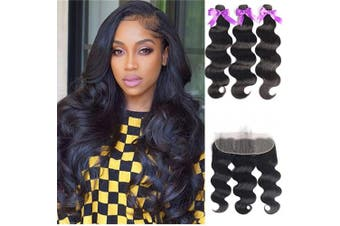 (18/20/22+46cm , Bundles with Frontal) - Beaudiva Hair Body Wave Bundles with 13×4 Lace Frontal (18 20 22+46cm ) Unprocessed 8A Brazilian Body Wave Human Hair Double Weft with Lace Frontal 13×4 Free Part…