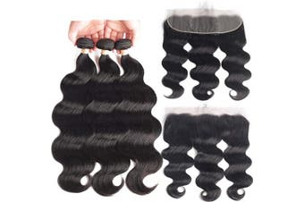 (12/14/16+30cm , Bundles with Frontal) - Beaudiva Hair Body Wave Bundles with Frontal 13×4 Lace Frontal Unprocessed 7A Brazilian Body Wave Human Hair Double Weft with Lace Frontal(12 14 16+30cm )