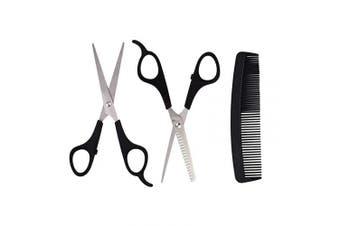 Hair Cutting Scissors Set, 3 Pcs Professional Hairdressing Scissors Kit, Black Stainless Steel Thinning Shears, Barber Haircut Scissors Kit for Men, Women, Kids, Home & Salon Use